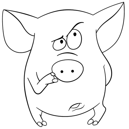 retiring: pig is thinking about something