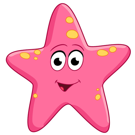 spotted pink starfish is smiling Stock Illustratie