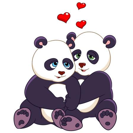 amistad: dos pandas están abrazando con amor Vectores