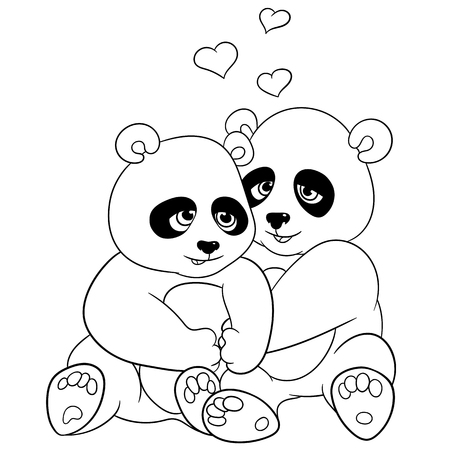 ladylove: two pandas are embracing with love