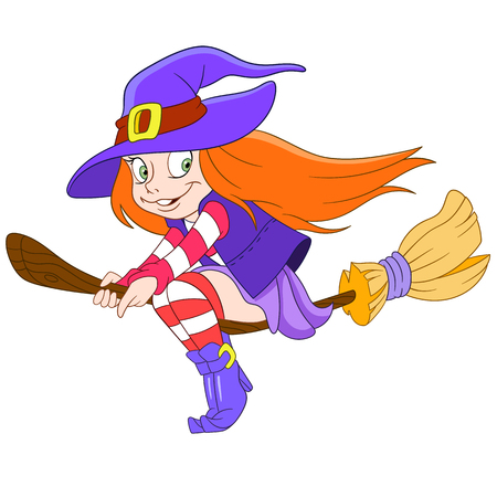 besom: pretty young witch is flying on a broom Illustration