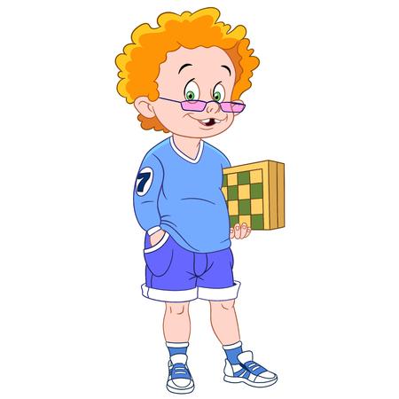 chess: el jengibre y el jugador de ajedrez lindo con un tablero de ajedrez Vectores