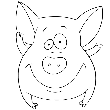 pigling: cute friendly pig is smiling and waving Illustration
