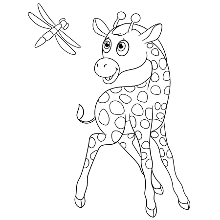 camelopard: cute giraffe is happy to see dragonfly Illustration