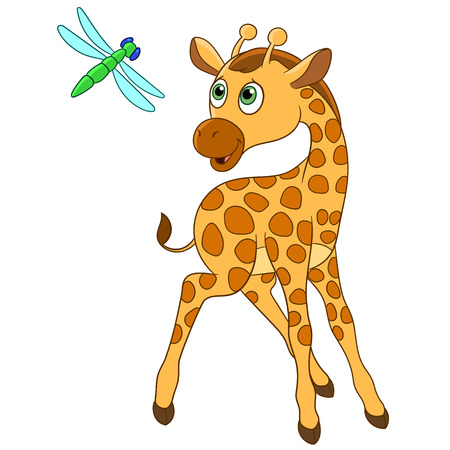 adder: cute giraffe is happy to see dragonfly Illustration