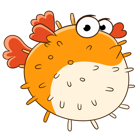 bloating: cute sad and lonely blowfish is swimming