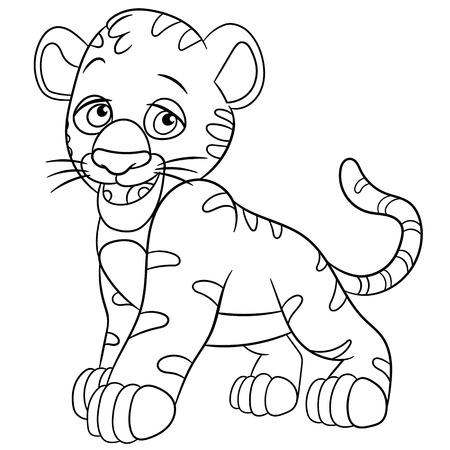 Tiger cub: cachorro lindo y t�mido tigre est� sonriendo
