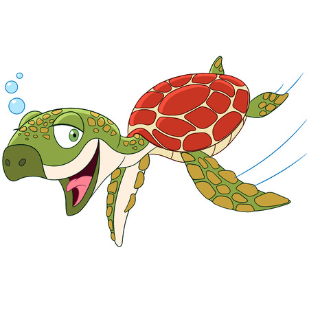 cute happy turtle is swimming and smiling