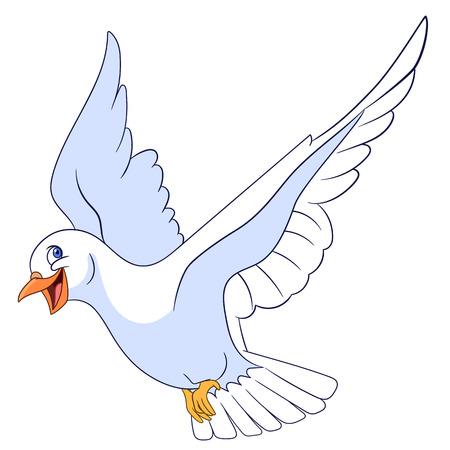 paloma caricatura: hermosa paloma encantadora y feliz está volando Vectores