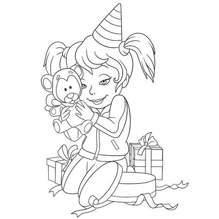 cute girl with teddy bear: cute happy girl is holding her gift teddy bear