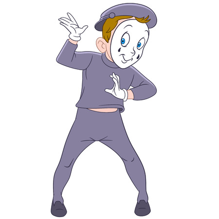 mime: cute funny french mime is making a comedy performance Illustration
