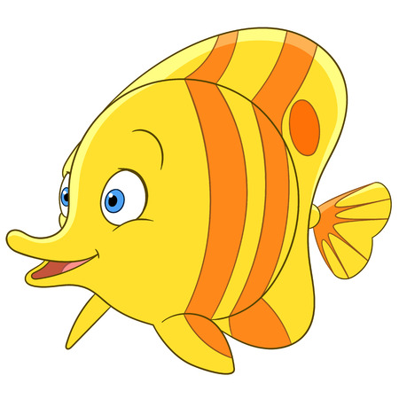 copperband: cute tropical cartoon butterfly fish is smiling