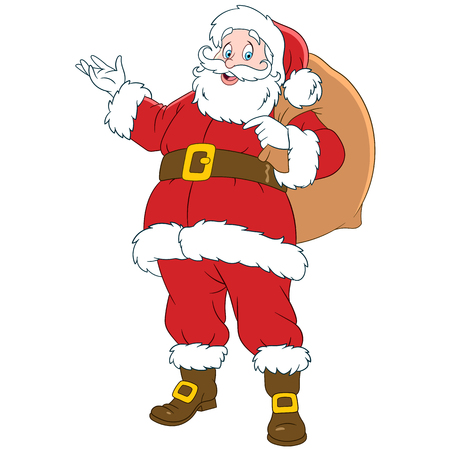 ho: happy smiling Santa Claus with a sack of gifts Illustration