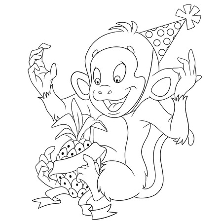exotic fruit: cute funny new year monkey is happy to have a gift pineapple Illustration