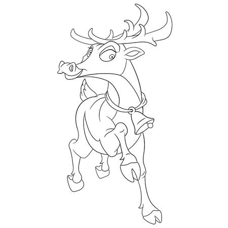 jingle bell: cute christmas cartoon reindeer with a jingle bell