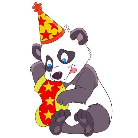 christmas sock: cute christmas cartoon panda holding Christmas sock