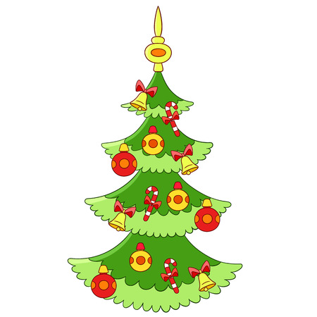 jingle bells: beautiful cartoon Christmas tree with colorful baubles, candies and jingle bells Illustration