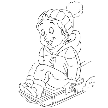 sledging: boy sledging down on the snow, vector illustration cartoon