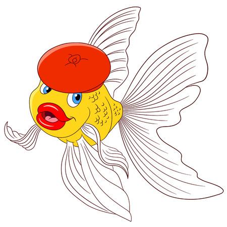 golden fish: cute cartoon goldfish in a red beret, vector illustration cartoon Illustration