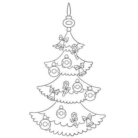 jingle bells: beautiful cartoon Christmas tree with baubles, candies and jingle bells Illustration