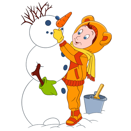 zanahoria caricatura: chico lindo y feliz de dibujos animados está creando nuevo invierno año muñeco de nieve