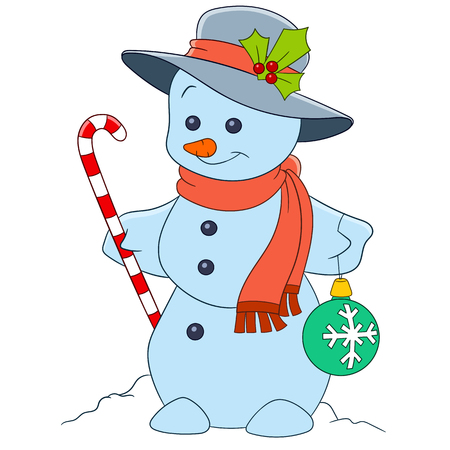 candy stick: cute and happy cartoon christmas snowman is holding a candy stick and a firtree ball