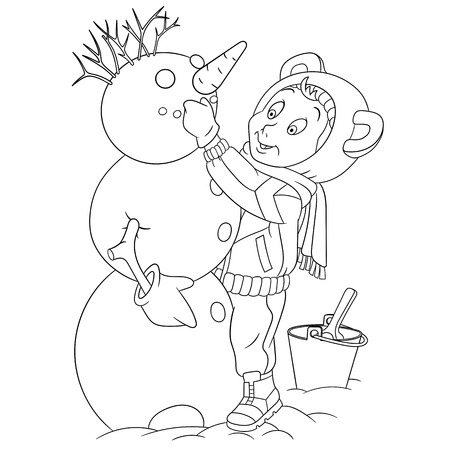 cowl: cute and happy cartoon boy is creating winter new year snowman