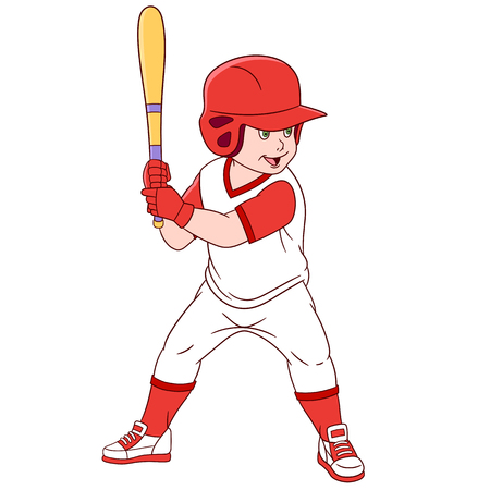 cute and happy cartoon boy with a bat playing baseball