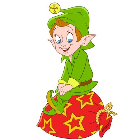 cartoon leuke kerst elf of de Kerstman helper met een zak van giften