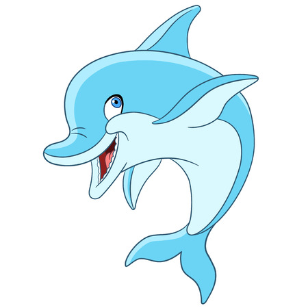 cute and happy cartoon dolphin is smiling Çizim
