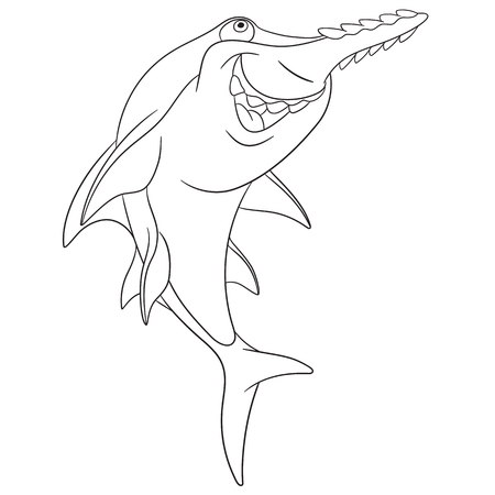 hunter playful: cute dangerous and happy cartoon sawfish is hunting