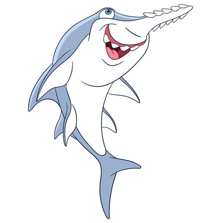 sea saw: cute dangerous and happy cartoon sawfish is hunting