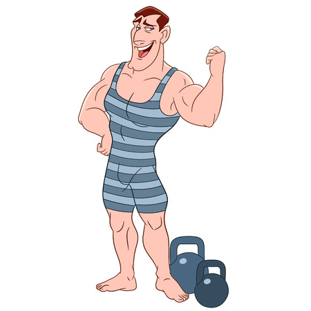 greek god: cute strong and powerful bodybuilder in striped tights with barbells
