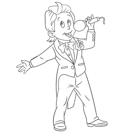 zapatos caricatura: chico lindo y talentoso cantante de dibujos animados con un micrófono Vectores