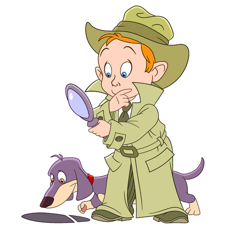Intelligente ragazzo cartone animato detective e il suo cane bloodhound stanno risolvendo un'impronta misteriosa Archivio Fotografico - 50387303