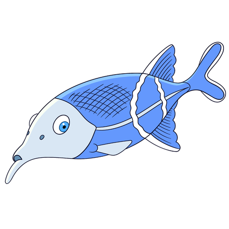 cute and lovely cartoon elephant fish is swimming