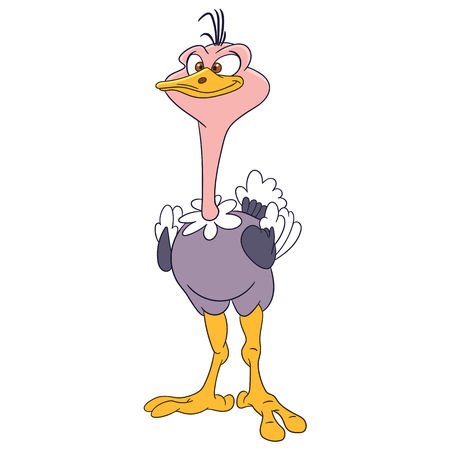 squinting: cute and funny cartoon ostrich is posing Illustration