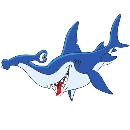 gills: cute and happy but dangerous cartoon hammerhead shark Illustration