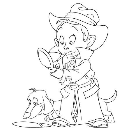 policia caricatura: inteligente muchacho joven detective de la historieta y su perro sabueso est�n resolviendo una huella misteriosa