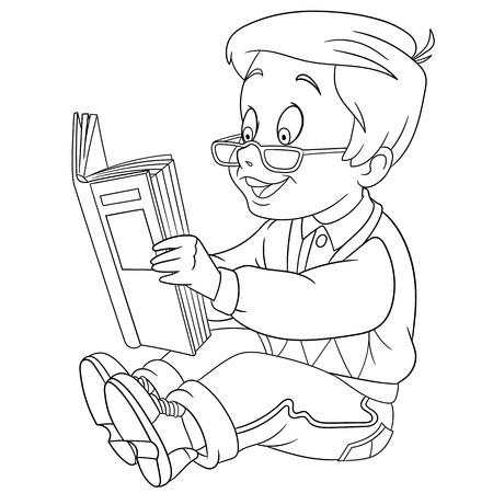 zapatos caricatura: linda y feliz niño lector de dibujos animados con un libro