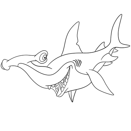 pez martillo: lindo y feliz, pero peligroso tiburón martillo de dibujos animados