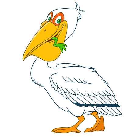 beak: cute and happy cartoon pelican catches a frog in his beak Illustration