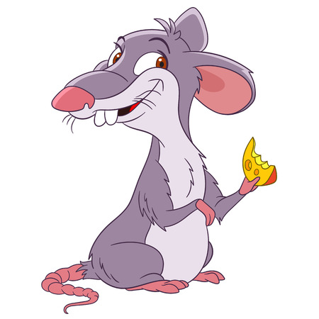 cute and happy cartoon rat with a hunk of cheese Stock Illustratie