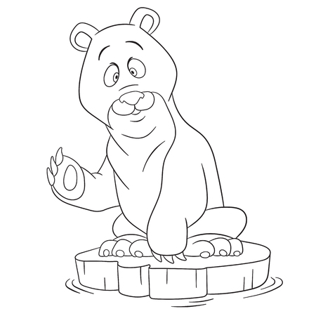 polar bear on ice: cute and happy cartoon polar bear sitting on an ice floe and waving his paw