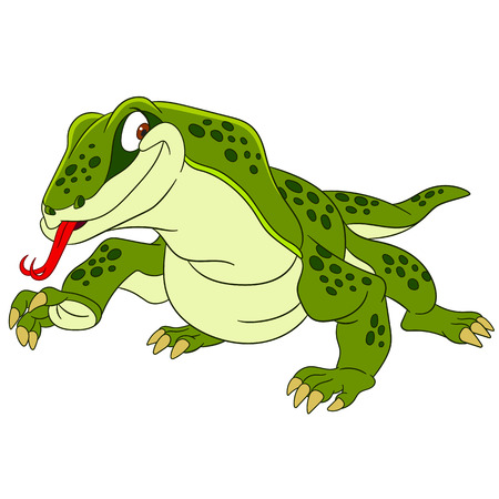 cute and happy cartoon varan (komodo dragon) Ilustração
