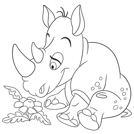 timid: cute happy and dreamy cartoon rhino (rhinoceros) is inspired by the beautiful little daisy flower, isolated on a white background Illustration