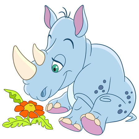 flower white: cute happy and dreamy cartoon rhino (rhinoceros) is inspired by the beautiful little daisy flower, isolated on a white background Illustration