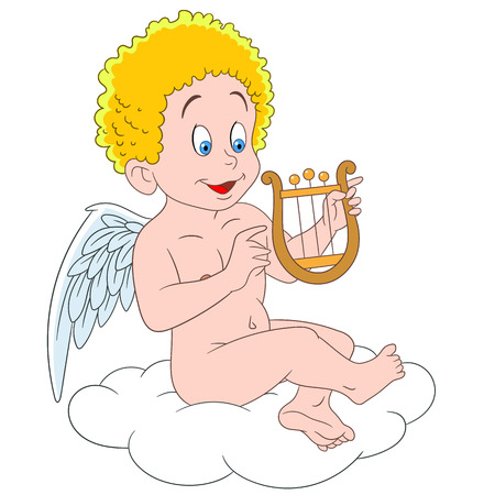 Cupido cartone animato romantico e bello, angelo di amore e passione, volando su una nuvola in cielo e giocando sulla lira su giorno di San Valentino
