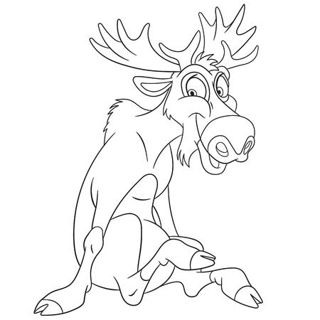 monta�as caricatura: alce de dibujos animados lindo y feliz o alces eurasi�ticos con grandes cuernos, aislado en un fondo blanco