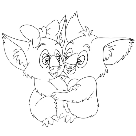 passion ecology: two cute romantic and lovely cartoon koalas embracing each other and dancing passionate tango on saint valentines day, isolated on a white background